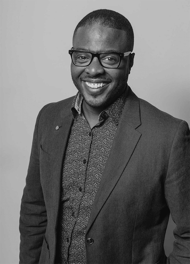 Black and White Portrait of Derrick Fagan, Owner of DF Media Productions a Video Production Company in Toronto, Canada