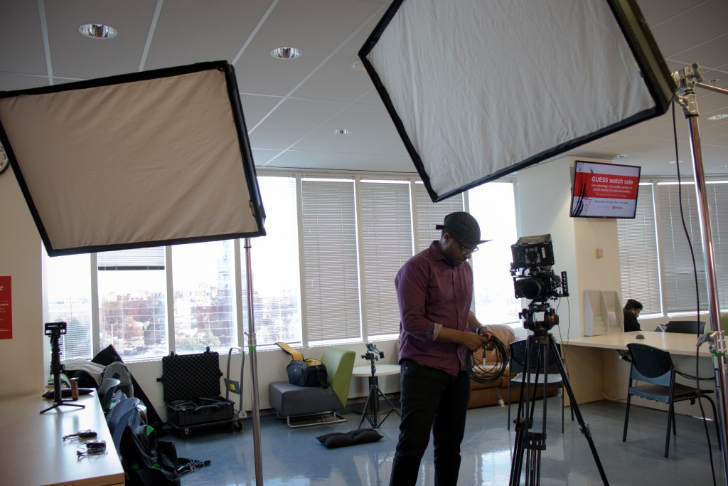Video Production Company DF Media Productions setting up for a corporate video shoot